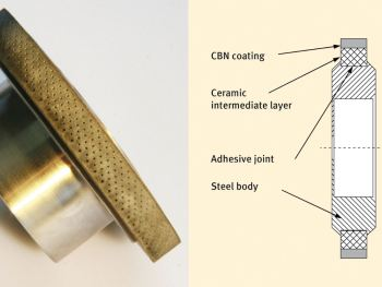 Grinding wheel with microstructured coating.© Fraunhofer IWU