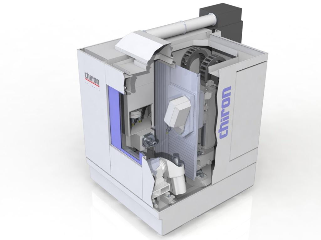 Het hoogdynamische FZ08 MT draai-freescentrum van Chiron is klein, precies en voor het eerst gepresenteerd tijdens de AMB 2014 in Stuttgart (D)