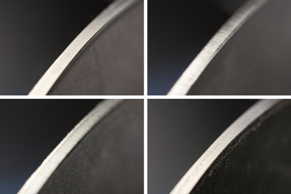 Ponskanten van verschillende materialen. Van linksboven met de klok mee: 1.4301, S 235, S 700 en een hoogmangaan-staal
