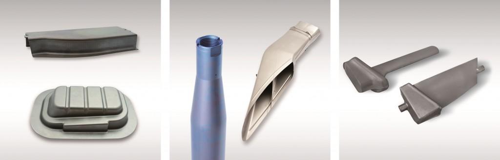 Diverse titanium werkstukken die zijn geproduceerd met koud en warm dieptrekken (foto: Schuler)