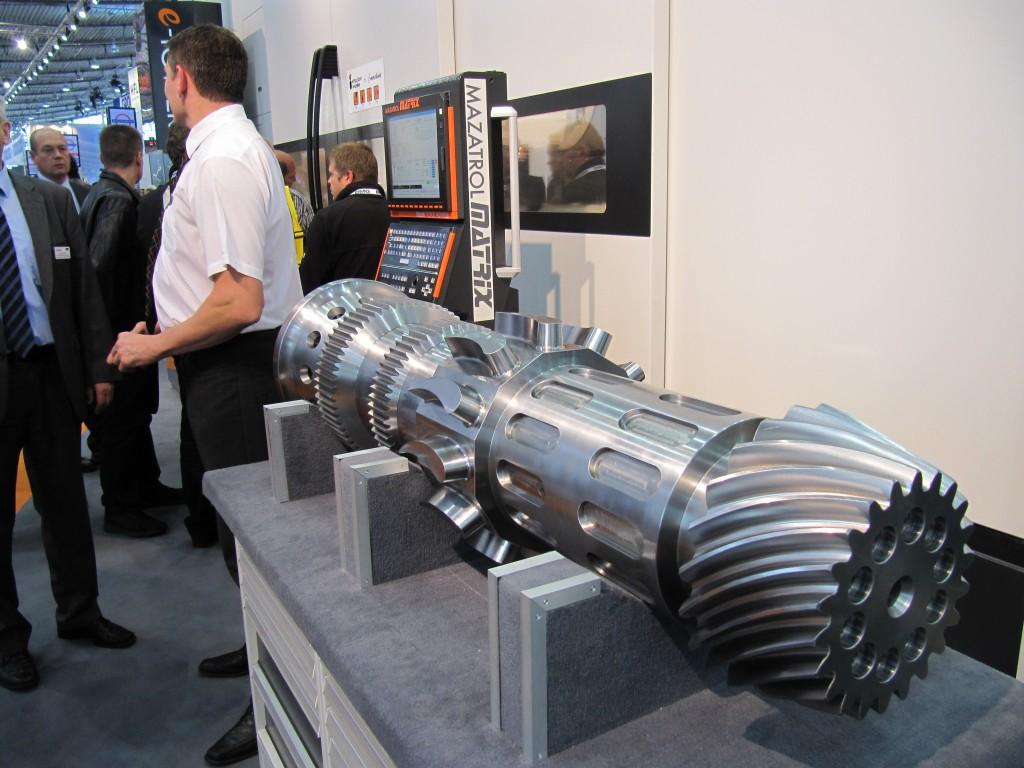 Werkstuk dat door middel van compleetbewerken is vervaardigd op een Integrex machine van machine. Dit deel is getoond op een AMB in Stuttgart (D) (foto: Reinold Tomberg)