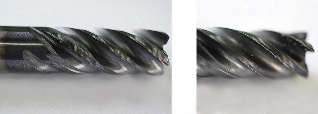 Vergelijking van de slijtage. De linker afbeelding toont een gereedschap die gebruikt is met de powRgrip opspanning
