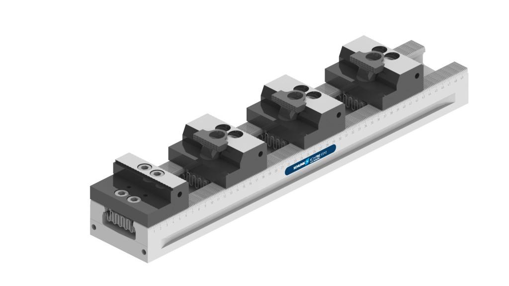 Met behulp van slanke klauwen kunnen op de Schunkmeer-voudige spanner Kontec KSM2 meerdere onderdelen in een kleine ruimte gespannen worden