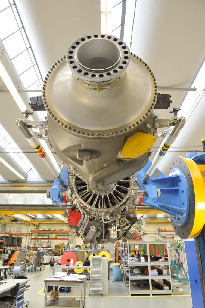 De turbinemotor TP400-D6, met een propellor-aandrijving voor een militair vliegtuig, in opbouw bij MTU in München