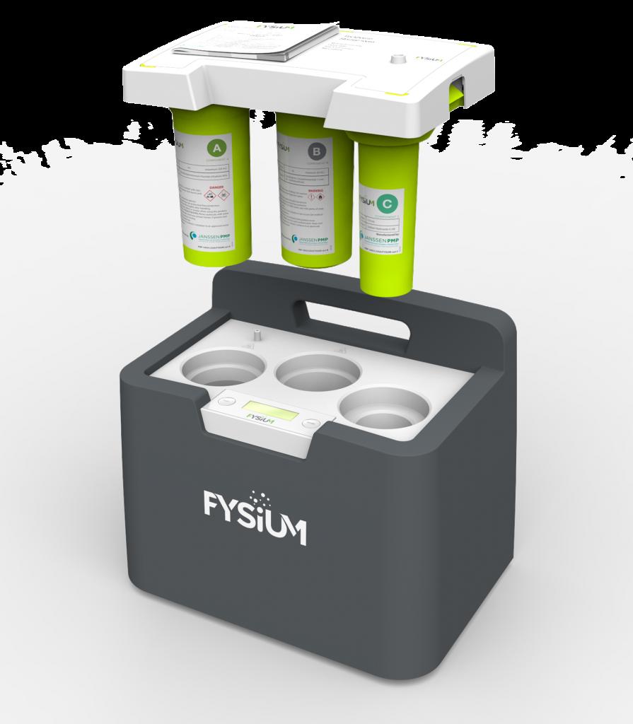 Het draagbare Fysium-systeem van ACE in Eindhoven, waarmee op locatie het plantenhormoon 1-MCP kan worden geproduceerd en toegediend aan het fruit in koelcellen (foto: ACE)